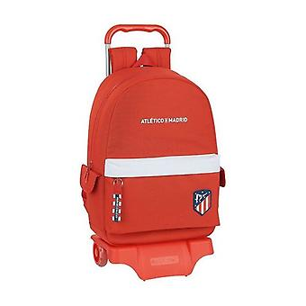 School Rucksack with Wheels 905 Atlético Madrid White Red