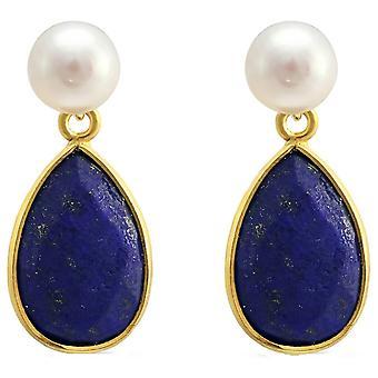 Pearls of the Orient Clara Freshwater Pearl Lapis Lazuli Drop Earrings - Blue