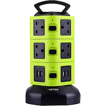 Gerui Power Strip, 10 Way Outlet Multi Plug Electric Socket Extension Lead Tower Surge Protector