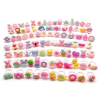 Children's Cartoon Rings, Candy, Flower, Animal Bow Shape Ring Set, Mix Finger