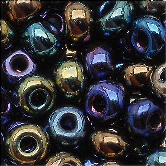 חרוזי זרעי זכוכית צ'כיים, סיבוב 6/0, 1 אונקיה, תערובת כחולה אירוס מתכתית