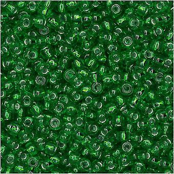 Miyuki Perlas de semillas redondas, tamaño 11/0, tubo de 8,5 gramos, #16 plata forrada de verde