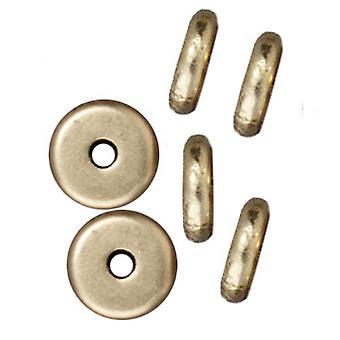 TierraCast Messinki Oksidi Viimeistely Lyijyton Pewter Levy Heishi Spacer Beads 6mm (10)