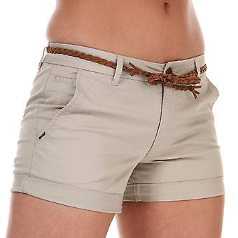 Kvinders eneste Evelyn Life Belted Chino Shorts i Cream