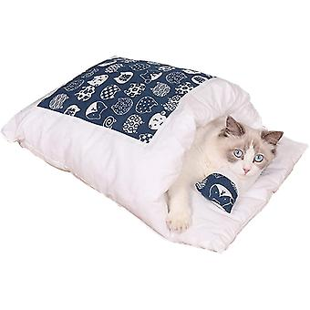 Katzenschlafsack Katzenbett Winter Geschlossen Abnehmbare Katzenhöhle Warm Kuschelsack für Katzen