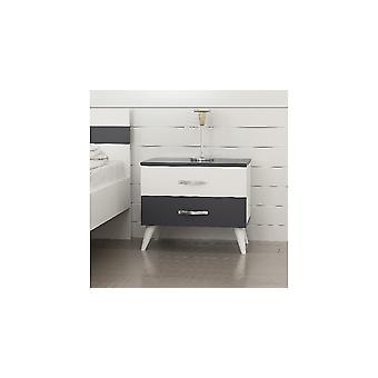 Comodino Swan Colore Bianco, Antracite, in Truciolare Melaminico L60xP37xA51 cm