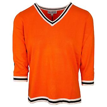 Passioni Orange 3/4 Sleeve Fine Knit V-neck Sports Stripe Jumper