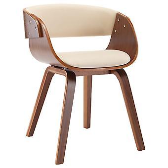 vidaXL silla de comedor crema madera doblada e imitación de cuero