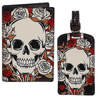 UK Skulls & Roses Passport Holder and Luggage Tag Set