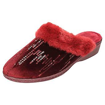 JWF Mule Slippers Wedge Heel Sequin Clogs Burgundy