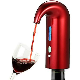 Automatic Wine Dispenser Electric Wine Fliter Aerator Pourer Decanter With Usb Charger(Red)