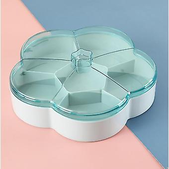 Plastic Box Fruit Platter Serving Tray Creative Plate Snacks Nuts Dessert Storage Box(blue)