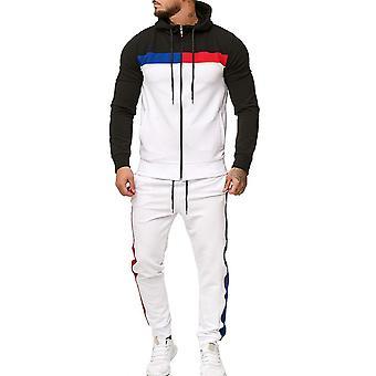 Silktaa Mannen 2-delige Color Block Hooded Zipper Sport Suit