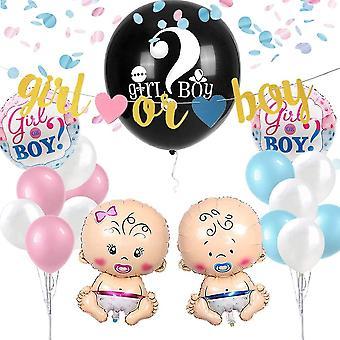 """Baby Shower Gender Reveal Party Dekoration - 36"""" Schwarz Reveal Ballon mit Rosa Blauen Konfetti"""