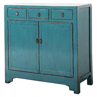 Fijne Aziatischeliving antieke Chinese dressoir blauw glanzend W101xD40xH101cm