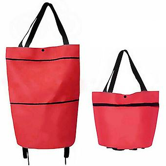(Red) Foldable Shopping Bag on Wheel Reusable Eco-Friendly Trolley Cart Large HandbagsFoldable