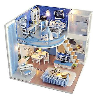Cutebee diy doll house wooden doll houses miniature dollhouse furniture kit with led toys for
