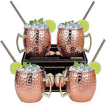 Shaving Bowls Mugs Moscow Mule Copper Mugs - Set 4-H crafted-Pure Solid Copper Mugs 16 oz Gift Set