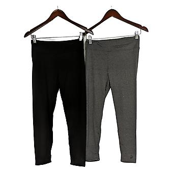 Cuddl Duds Leggings Flexwear Cropped Set de 2 Gris / Noir A373534