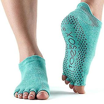 ToeSox Half Toe Low Rise Pilates Yoga Dance Grip Socks Barefoot - Aqua