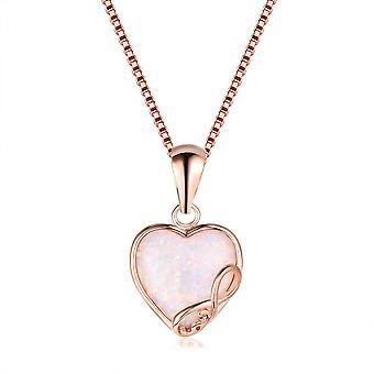 (E02-40-6)  14K Women Girl Heart Pendant Opal Necklace