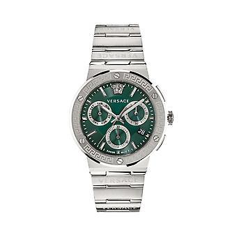 ヴェルサーチVEZ900121 メンズグレカロゴクロノグラフスチールブレスレット腕時計