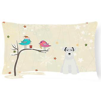 Pillows christmas presents between friends miniature schanuzer white canvas fabric decor