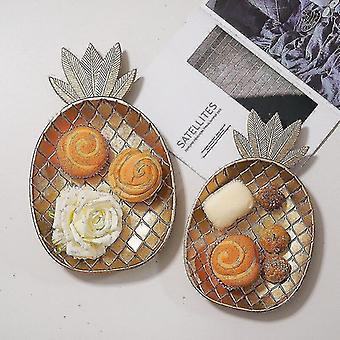 Decorative trays nordic inspired style gold storage and decor organising tray pineapple-l