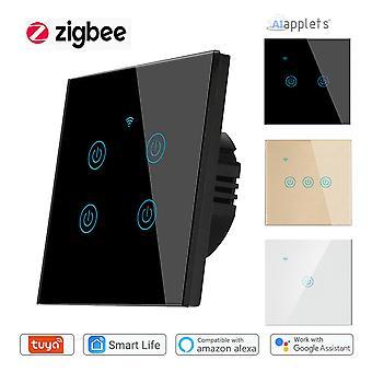Tuya Zigbee 3.0スマートライトスイッチ4ギャングウォールタッチスイッチ互換性のあるコントロールアレクサグーグルホームスマートシングスMqtt、ニュートラルワイヤー