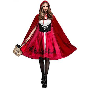 Women Little Red Riding Hood Costume Christmas Halloween Party Dress With Cape Cosplay