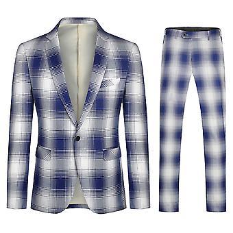 Veste de costume 2 pièces Pour Homme Yunyun Single Row One-button Plaid Blazer+pants