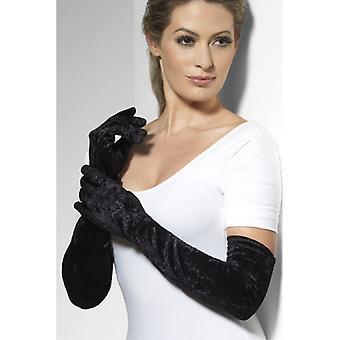 Mănuși catifea catifelat negru mânecă lungă costum