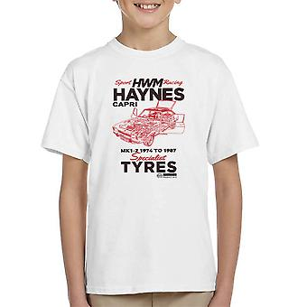 Haynes Brand HWM Ford Capri Specialist Tyres Black Kid's T-Shirt