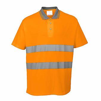 sUw - leichte Baumwolle Komfort kurze Ärmel reflektierende Polo-Shirt