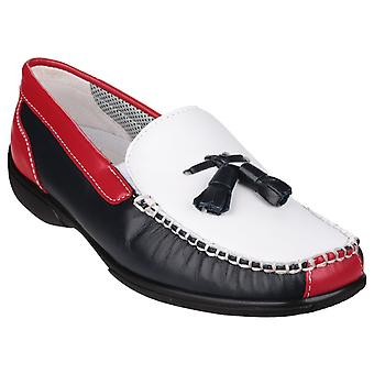 Cotswold Womens Biddlestone Slip På Loafer Shoe Vit / Marinen / Röd