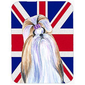 Shih Tzu avec anglais Union Jack drapeau britannique verre coupe Conseil grande taille