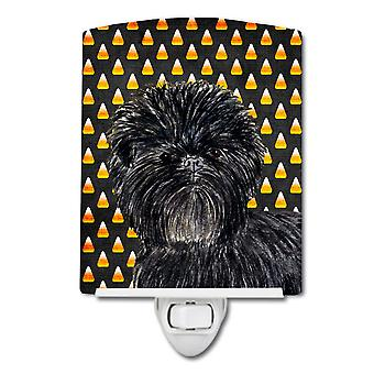 Affenpinscher Candy Corn Halloween Portrait Ceramic Night Light