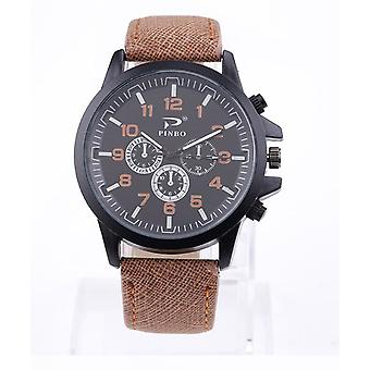 Mens Large Black Dial Sports Style Watch PU Leather Strap Pinbo VPWAPINBOBR1