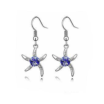 Womens Silber Seestern Ohrringe dunkelblau