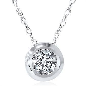 1 / 6ct Solitär echtes Lünette 14K Diamant Anhänger Halskette