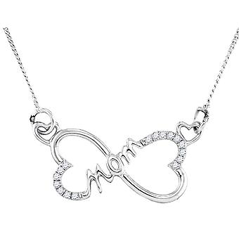 Heart MOM Pendant Necklace in Sterling Silver with Chain and Accent Diamonds 1/12 Carat (ctw)