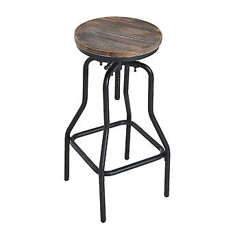 HOMCOM Vintage Industrial Bar Stool Height Adjustable Swivel Chair Metal Foot and Wood Surface (TypeB)