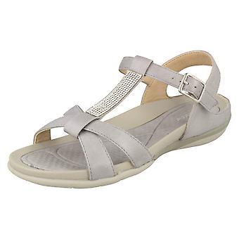 Senhoras Rieker Slingback sandálias V9463-42 - sintético cinza - UK tamanho 7.5 - UE tamanho 41 - Tamanho US 9.5