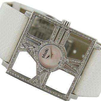 Misaki Mesdames montre PCUWDIVA bracelet en cuir blanc Zyrkonia