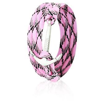 Patrón pulsera pulsera de ancla en color rosa/negro nylon con ancla de plata 6659
