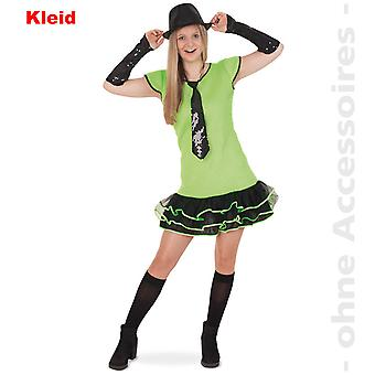 80er Jahre Partykleid Damenkostüm Volantkleid Missy Grün Teenager Damen Kostüm