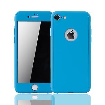 Apple iPhone 8 Mobile sag beskyttelse sag fuld-cover beskyttelse glas lys blå tank