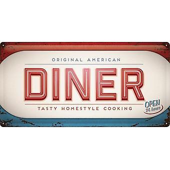 Alkuperäinen American Diner suuri kohokuvioitu teräksen merkki (500 Mm X 250 Mm)