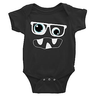Monster With Glasses Baby Bodysuit Gift Black