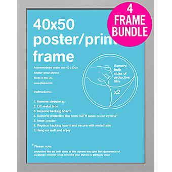 GB Posters 4 Silver Mini Poster Frames 40x50cm Bundle